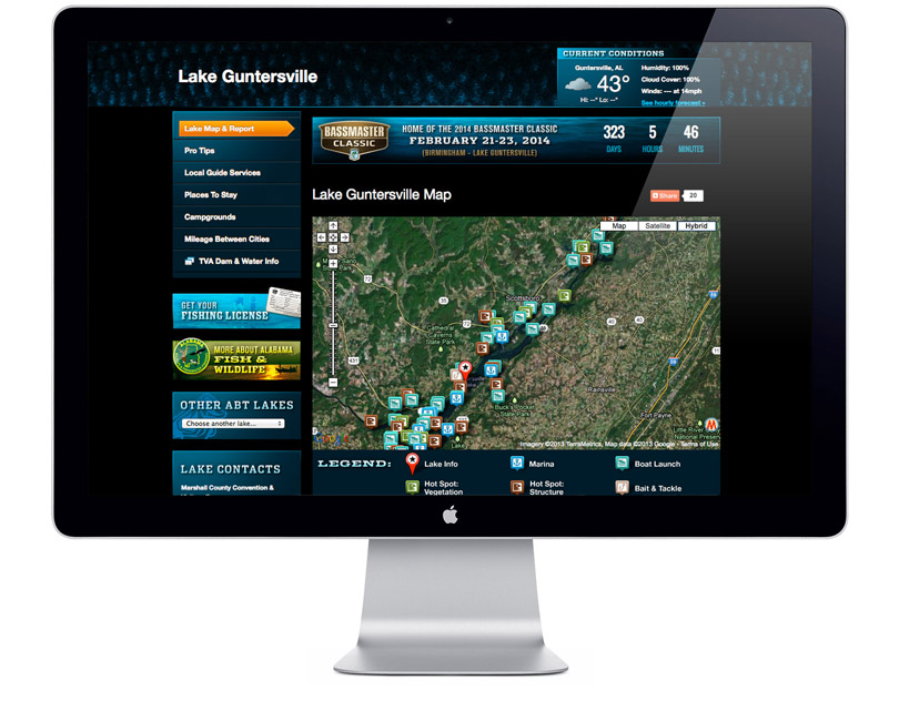 Alabama Bass Trail website lake page
