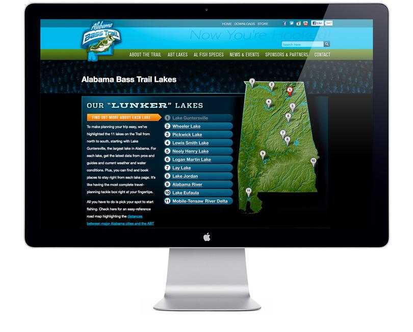 Alabama Bass Trail website lake main page