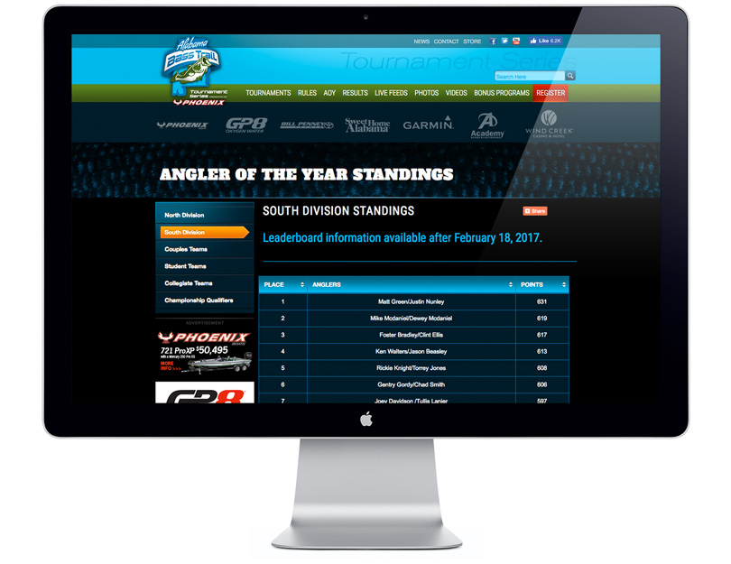 Alabama Bass Trail Tournament Series website
